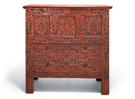 """1: Hadley chest with the initials """"MW."""" Hatfield, Massachusetts, ca. 1707.  White oak and pine. Courtesy, Shelburne Museum."""