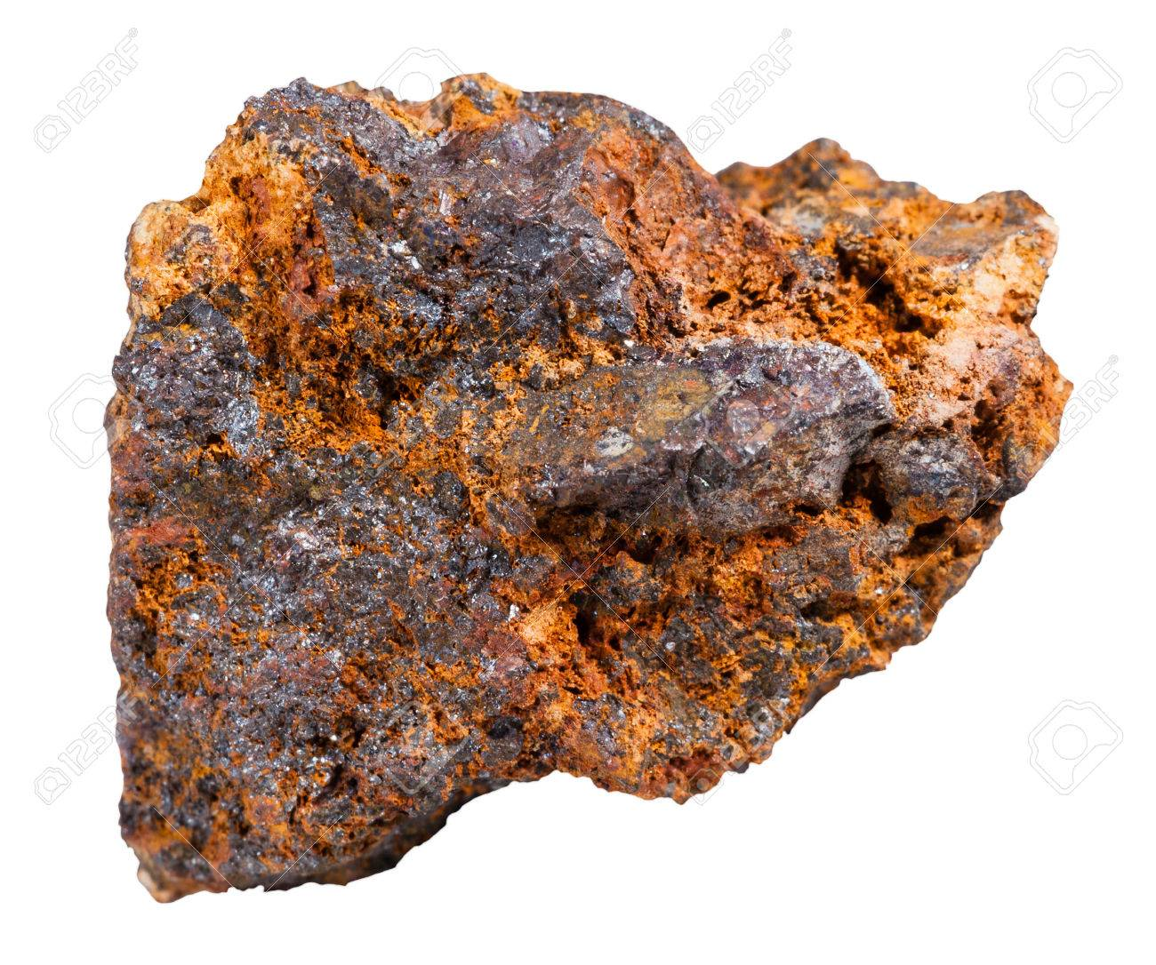 macro shooting of specimen natural rock - piece of hematite (haematite,  iron ore)