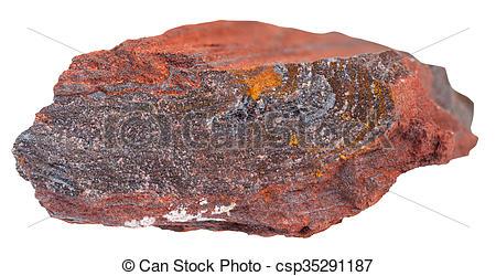 piece of banded-quartz haematite stone isolated - csp35291187
