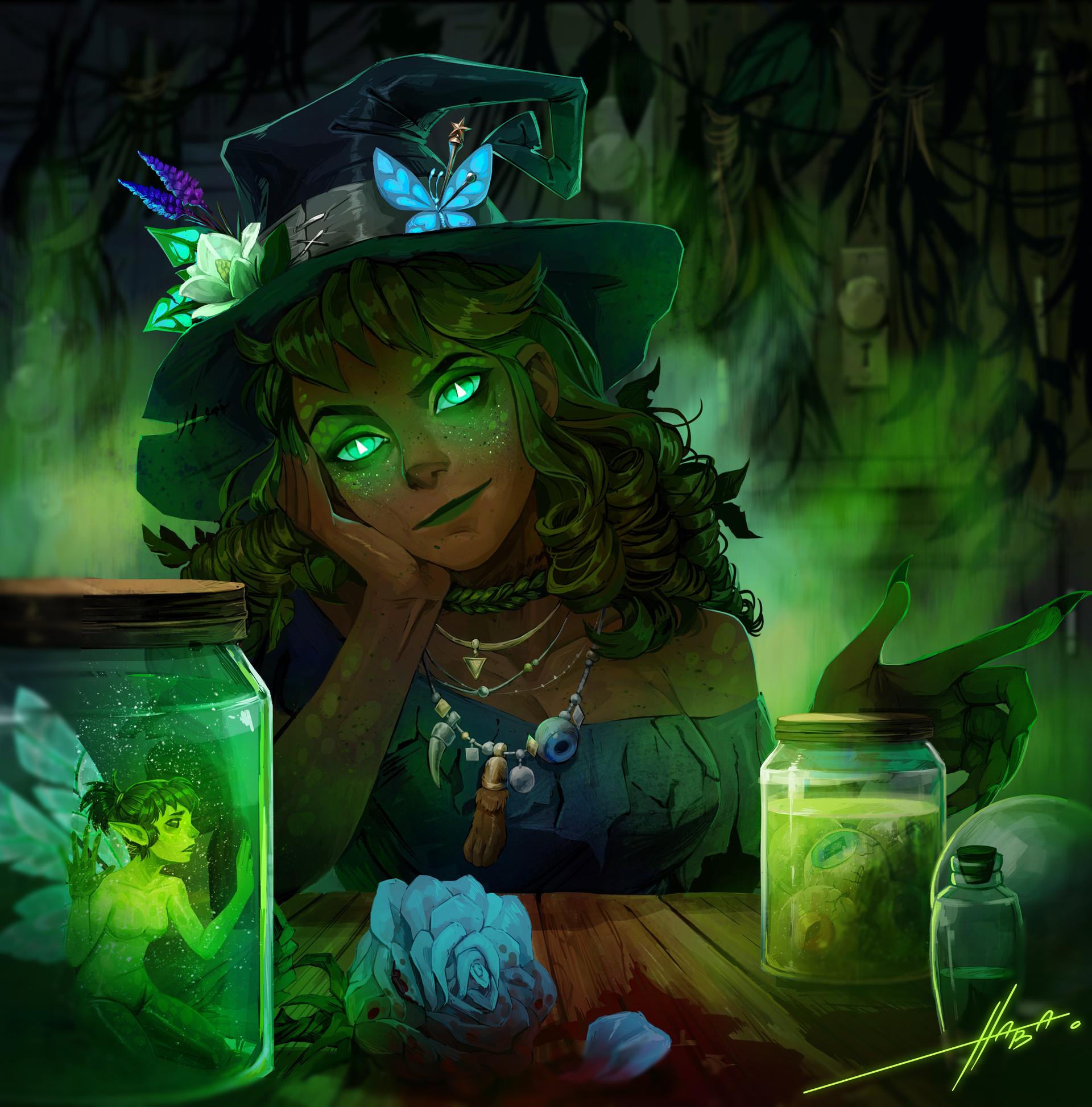 Witch Maggie by Anna Nagibina, A Half Green Hag