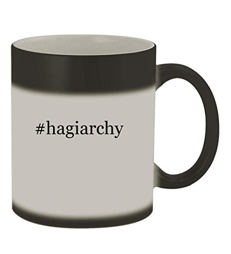 #hagiarchy - 11oz Color Changing Hashtag Sturdy Ceramic Coffee Cup Mug,  Matte Black