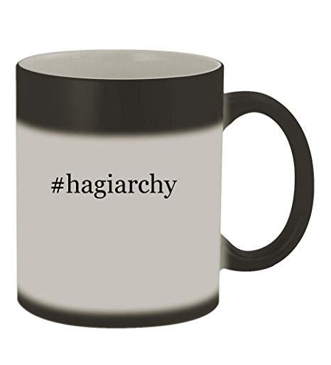 #hagiarchy - 11oz Color Changing Hashtag Sturdy Ceramic Coffee Cup Mug,  Matte Black