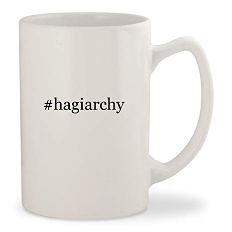 #hagiarchy - White Hashtag 14oz Ceramic Statesman Coffee Mug Cup