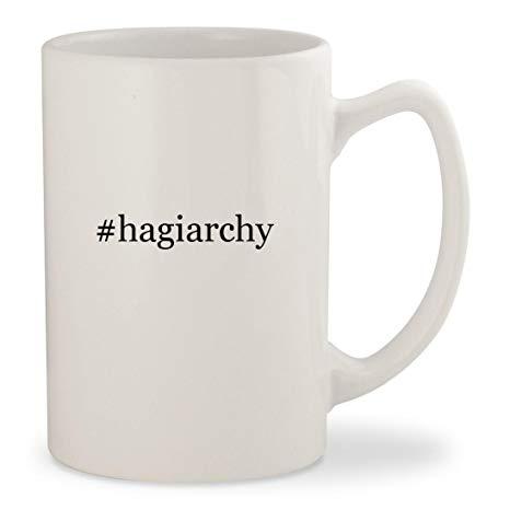 #hagiarchy - White Hashtag 14oz Ceramic Statesman Coffee Mug Cup