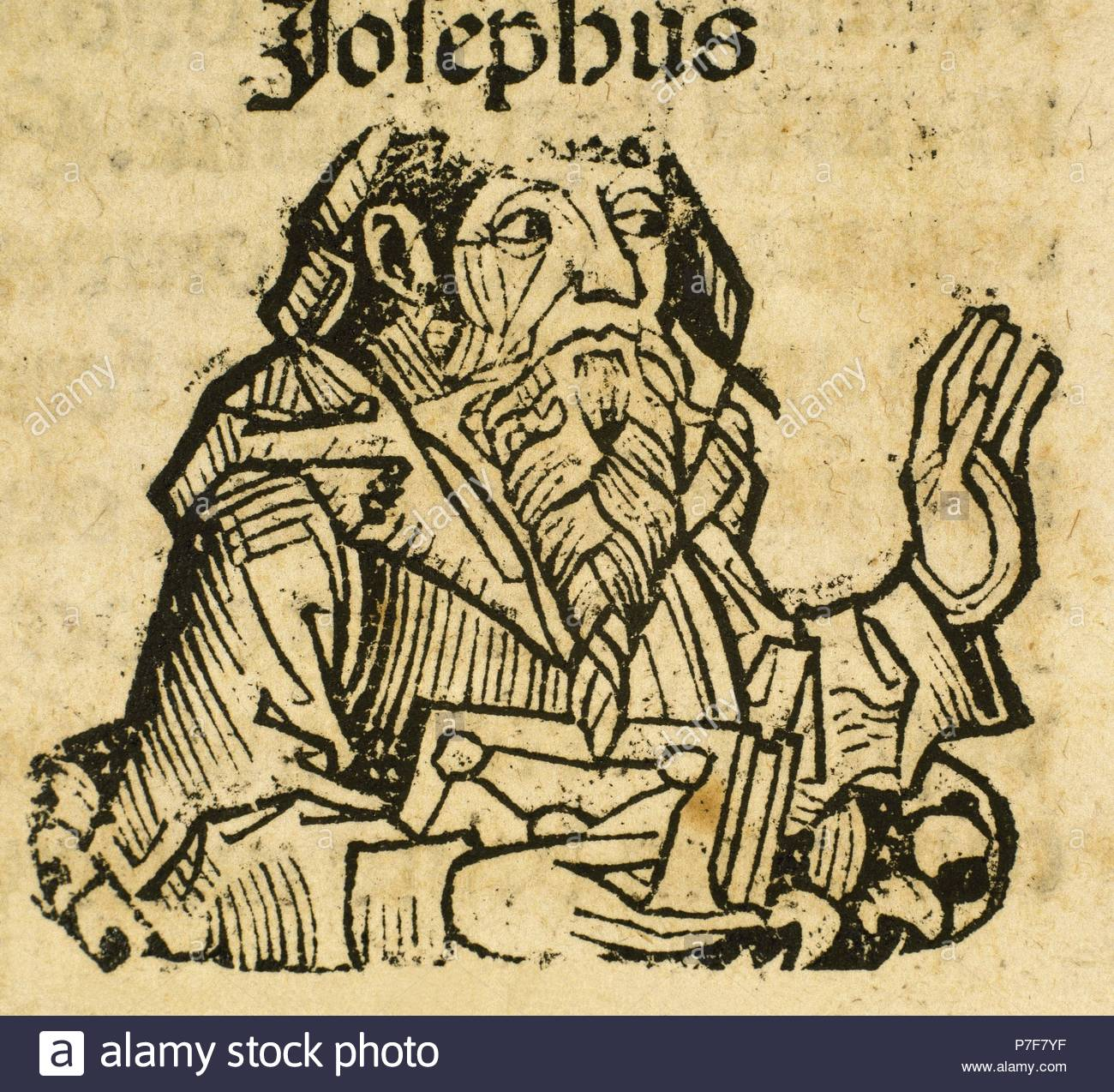 Titus Flavius Josephus (37-100 A.B). First-century Romano-Jewish scholar,  historian and hagiographer. Portrait. Engraving, 16th century.