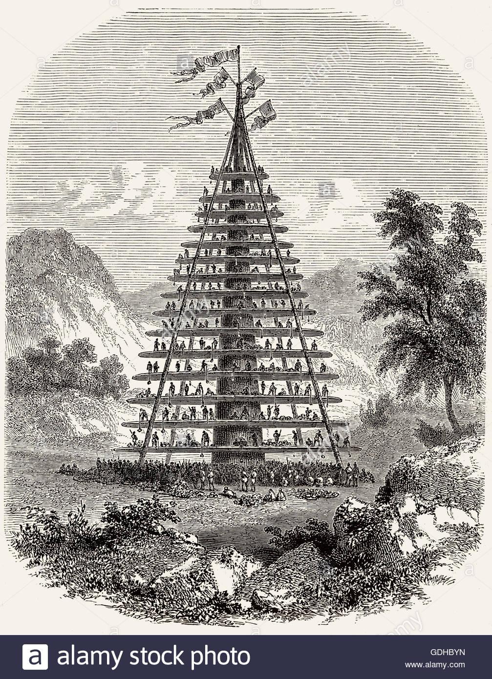 Una gigantesca fiesta hakari etapa, maorí, Nueva Zelanda, del siglo XIX.