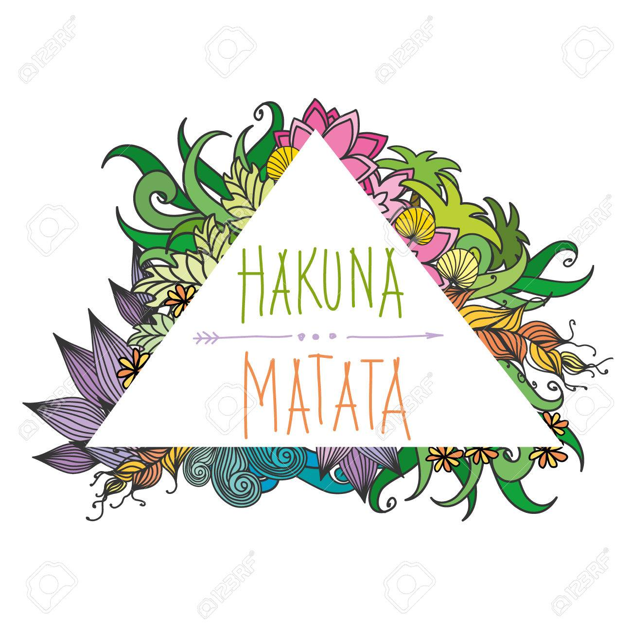 Hakuna matata - no worries,lettering with floral elements. Vector  illustration. Stock Vector