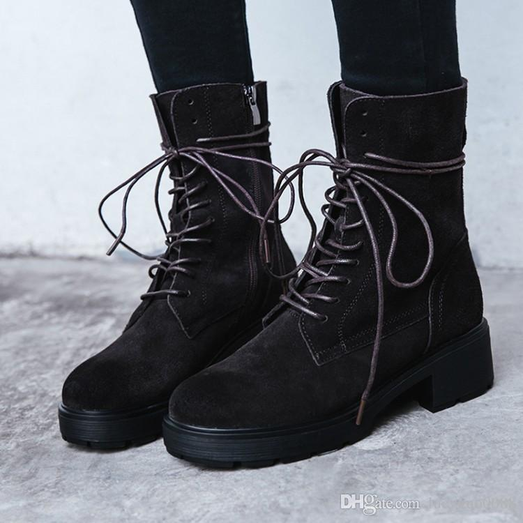 2018 new spring and winter women half boot genuine leather round toe chunky  heel lace up round toe woman boot sude US SIZE 4.5-7 1899