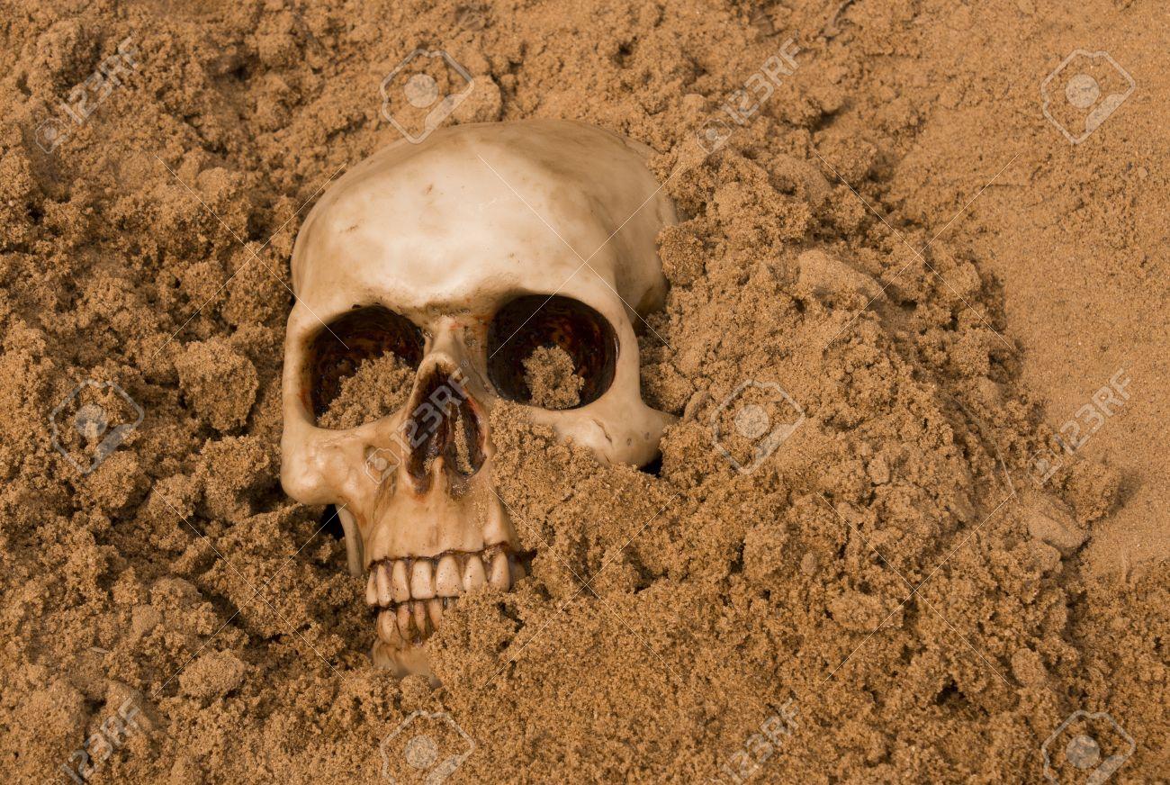 small human skull half buried in the desert sand Stock Photo - 20271967