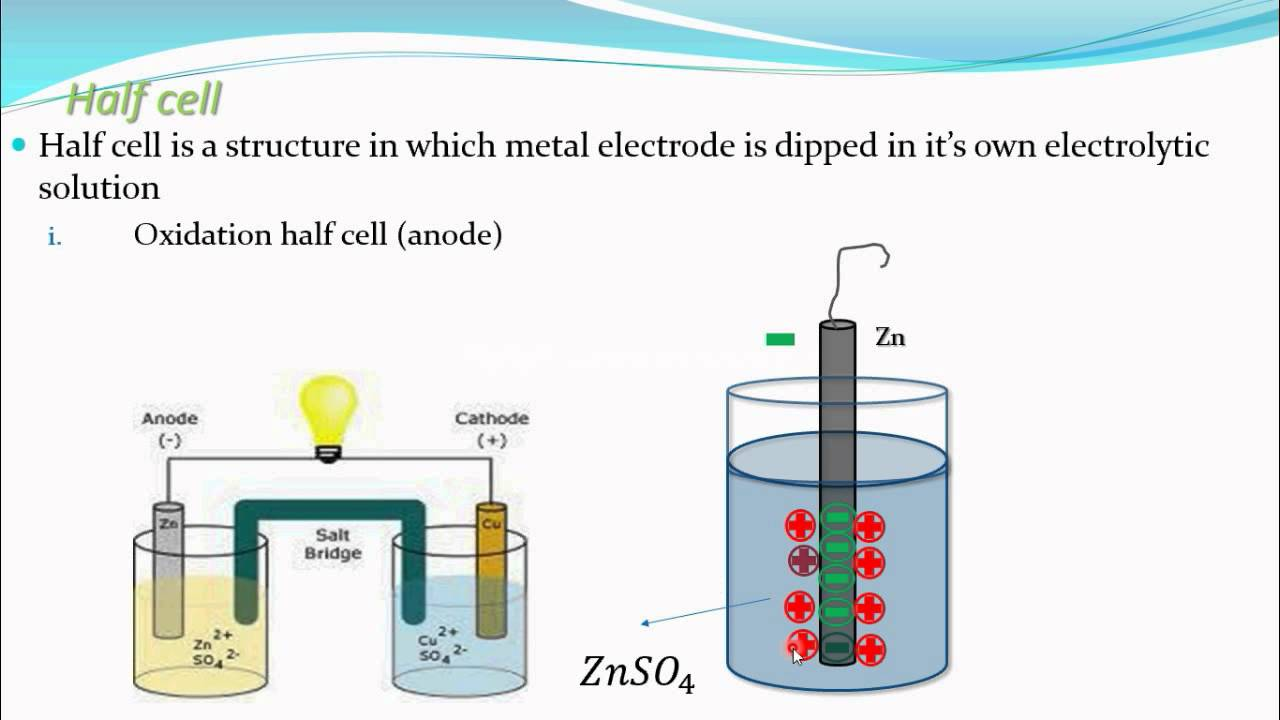 Half cell, oxidation half cell,reduction half cell(Electrochemistry part 6  CBSE class 12