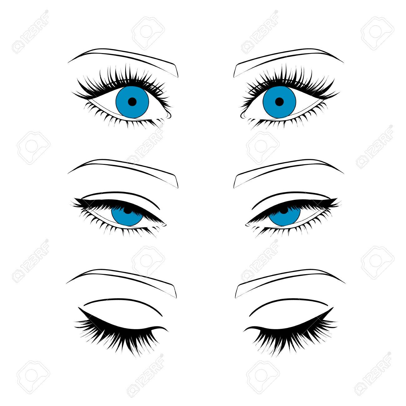 Open, closed half-open eyes Stock Vector - 61119103