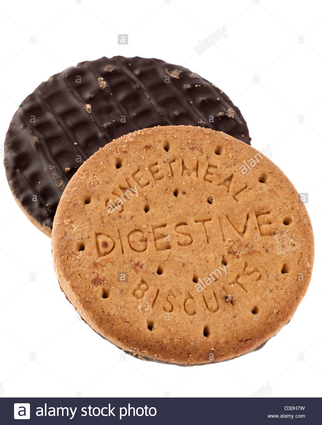 Two sweetmeal digestive biscuits half covered in dark chocolate