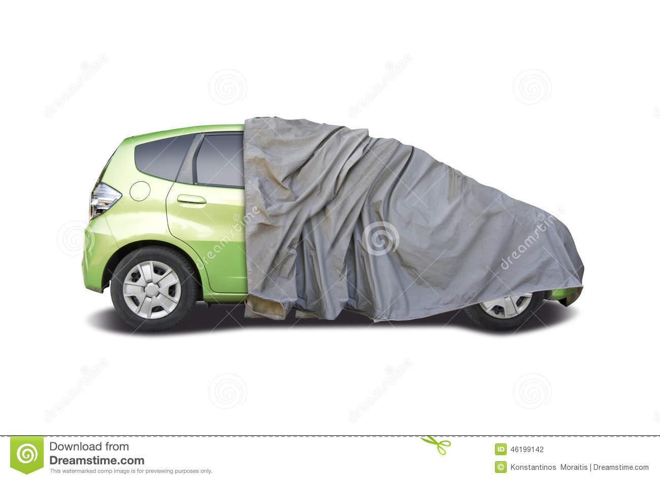 Car half covered