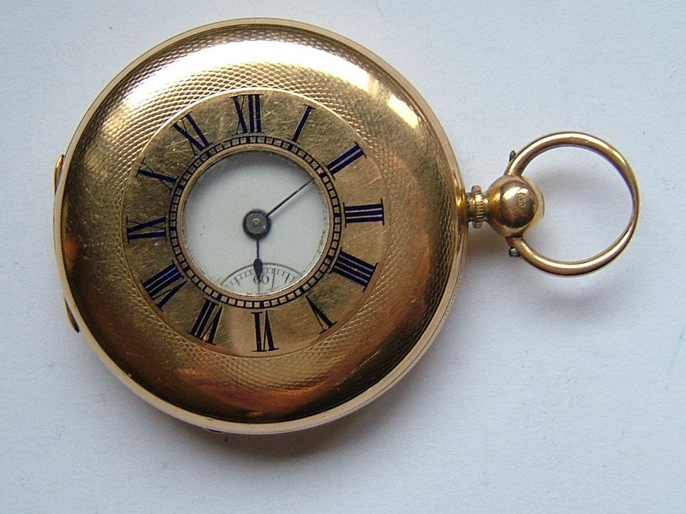 Victorian 18CT Gold Half Hunter Pocket Watch c1876