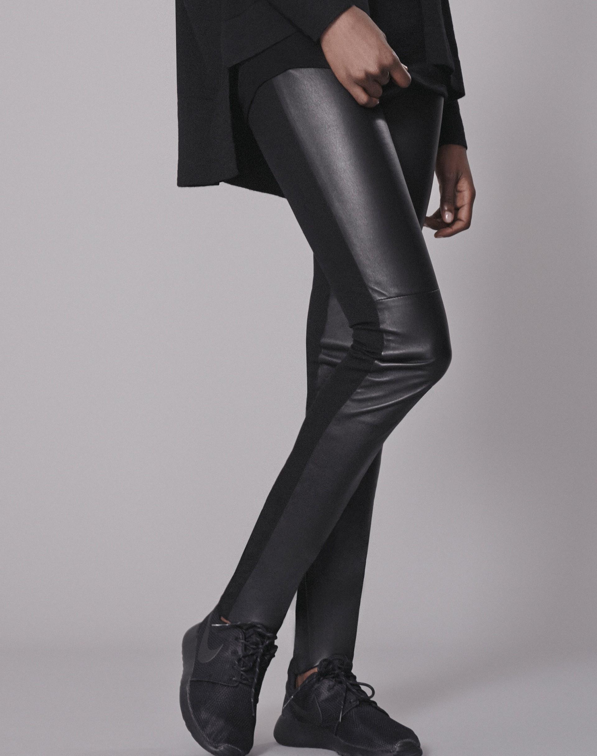 High Rise Half Leather Legging