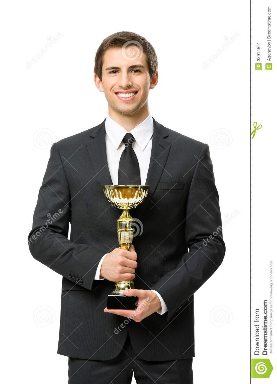 Half-length portrait of business man with gold cup