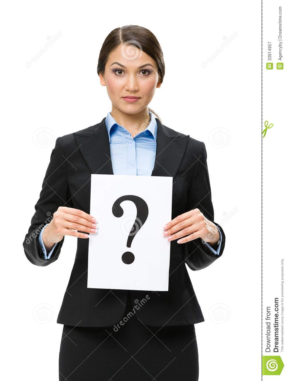 Half-length portrait of businesswoman with question mark