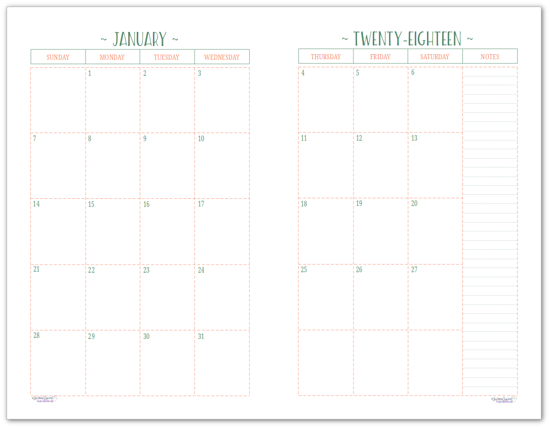 Half-Size 2018 Dated Monthly Calendar - Two Pages Per Month