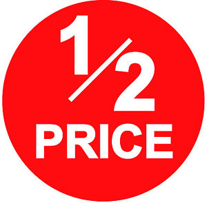 Image is loading 45mm-Bright-Red-1-2-Half-PRICE-Point-
