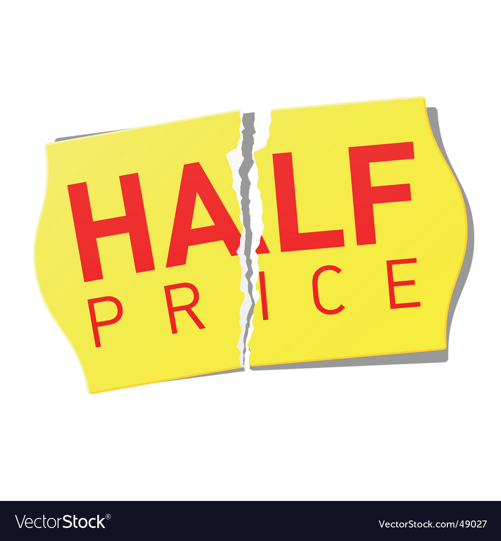 Half price sticker vector image