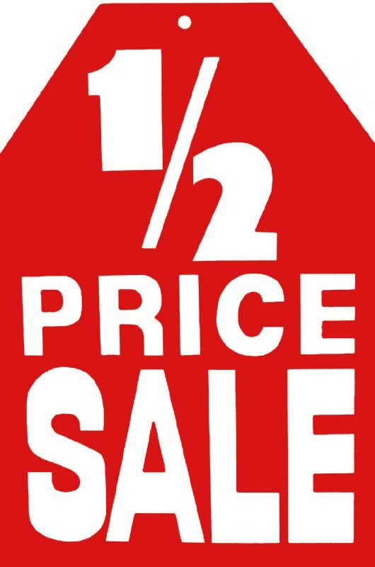 Half Price Sale Hanging Sign - 500mm x 740mm