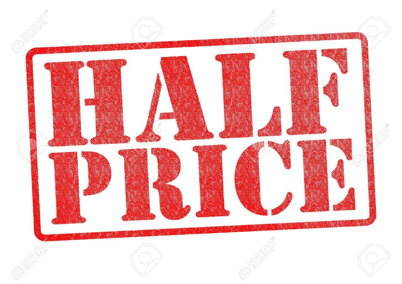HALF PRICE Rubber Stamp over a white background Stock Photo - 18516293