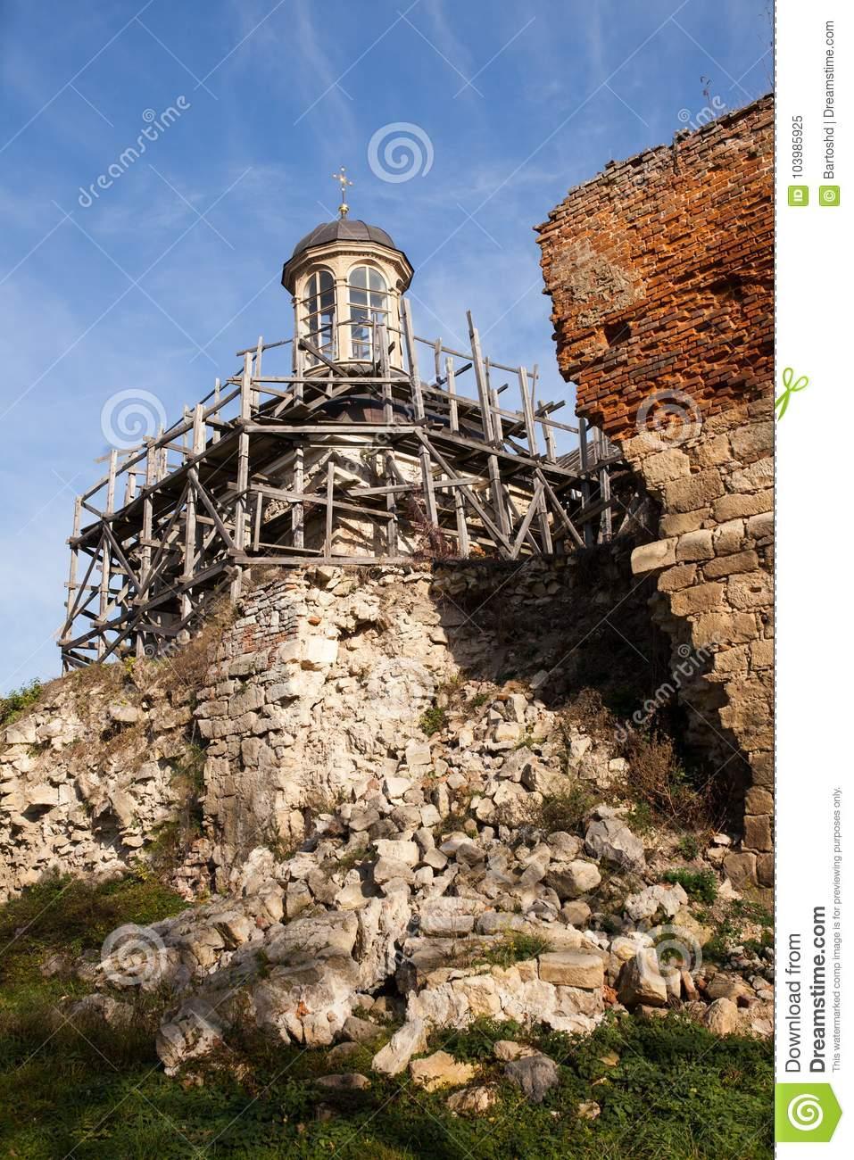 Half-ruined Sieniawski Castle 1534 year in Berezhany