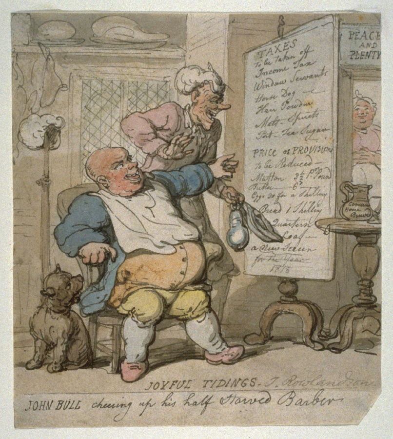 John Bull Cheering up his Half-starved Barber
