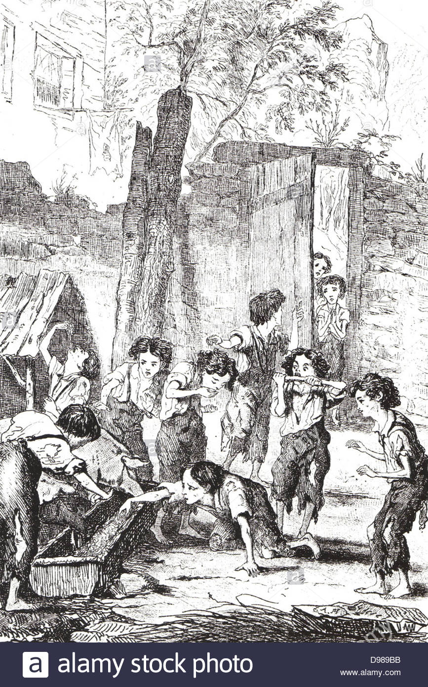 Half-starved factory children supplementing their meagre rations by  stealing food from a pig trough. Many such children would