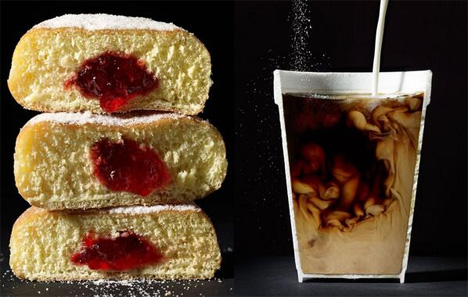 donuts and coffee cut in half