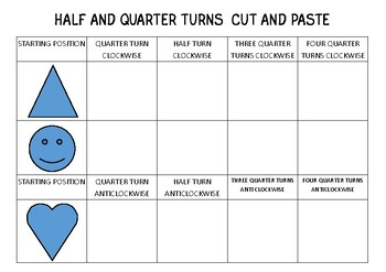 Half and Quarter turns cut and paste activity