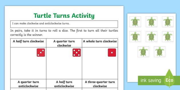 Turning Turtles Worksheet / Activity Sheet - Turning Turtles Display Poster  - turning turtles, display