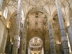 Manueline hall church of Jerónimos Monastery in Belém suburb of Lisbon