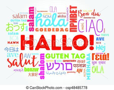 hallo, german), saludo, (hello, palabra, nube - csp48485778