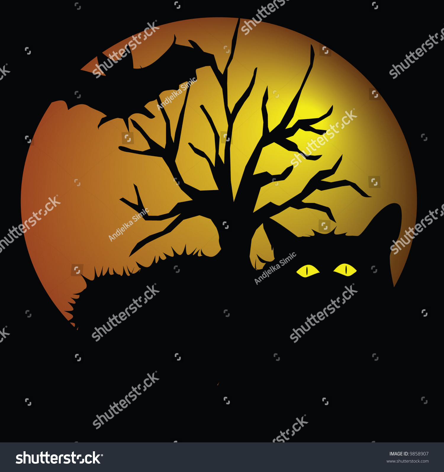 hallowing with black cat, bat and tree illustration