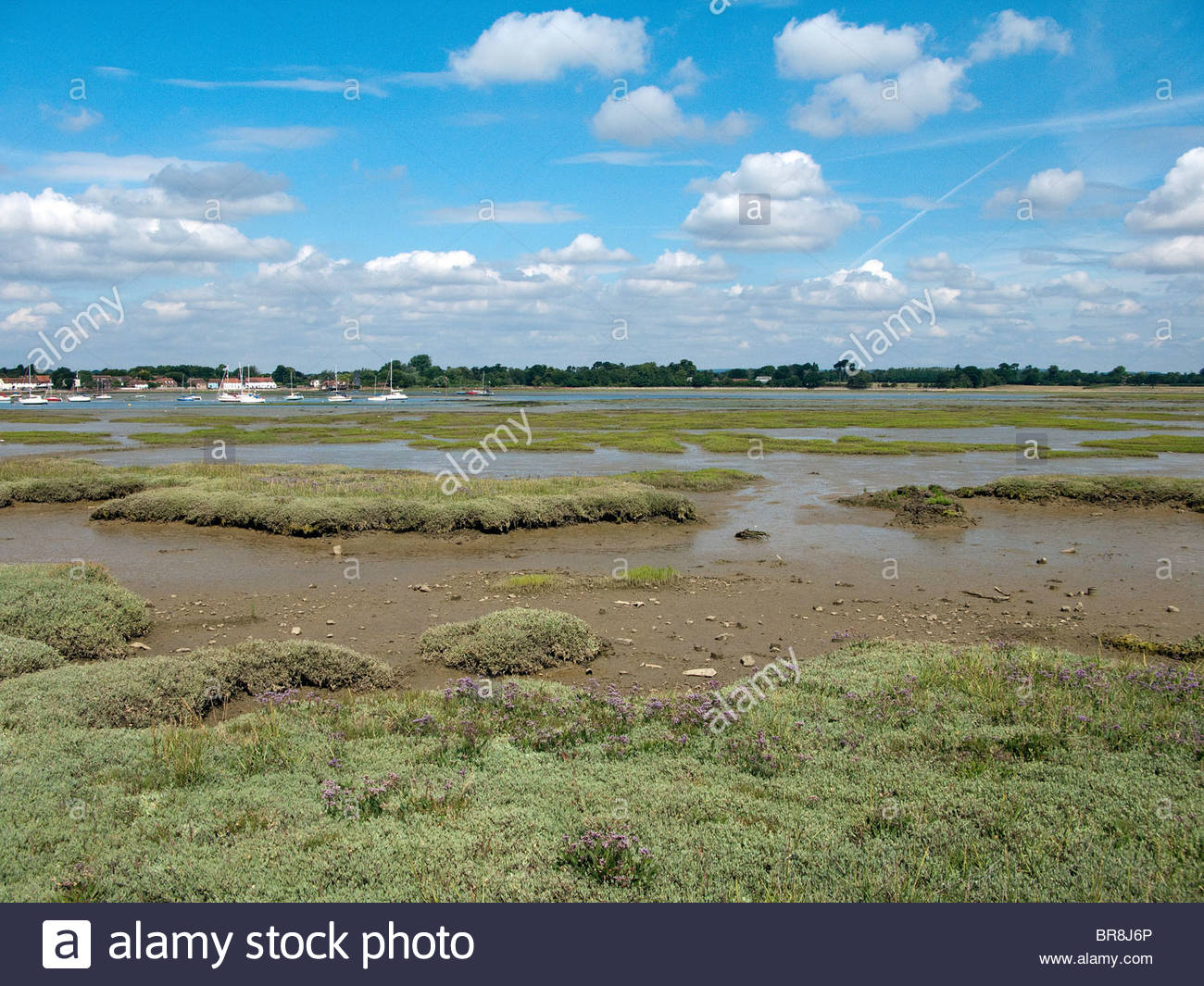 The view from Hayling Island north towards Emsworth and Havant in Hampshire  - Stock Image