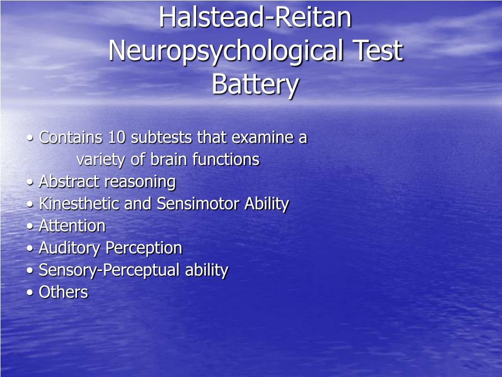 halstead reitan neuropsychological test battery l.