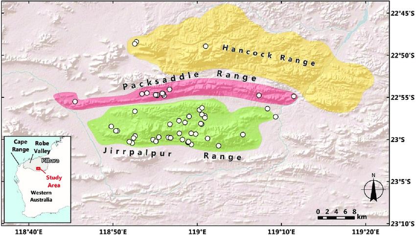 Map of the central Hamersley Range in the Pilbara region of Western    Download Scientific Diagram