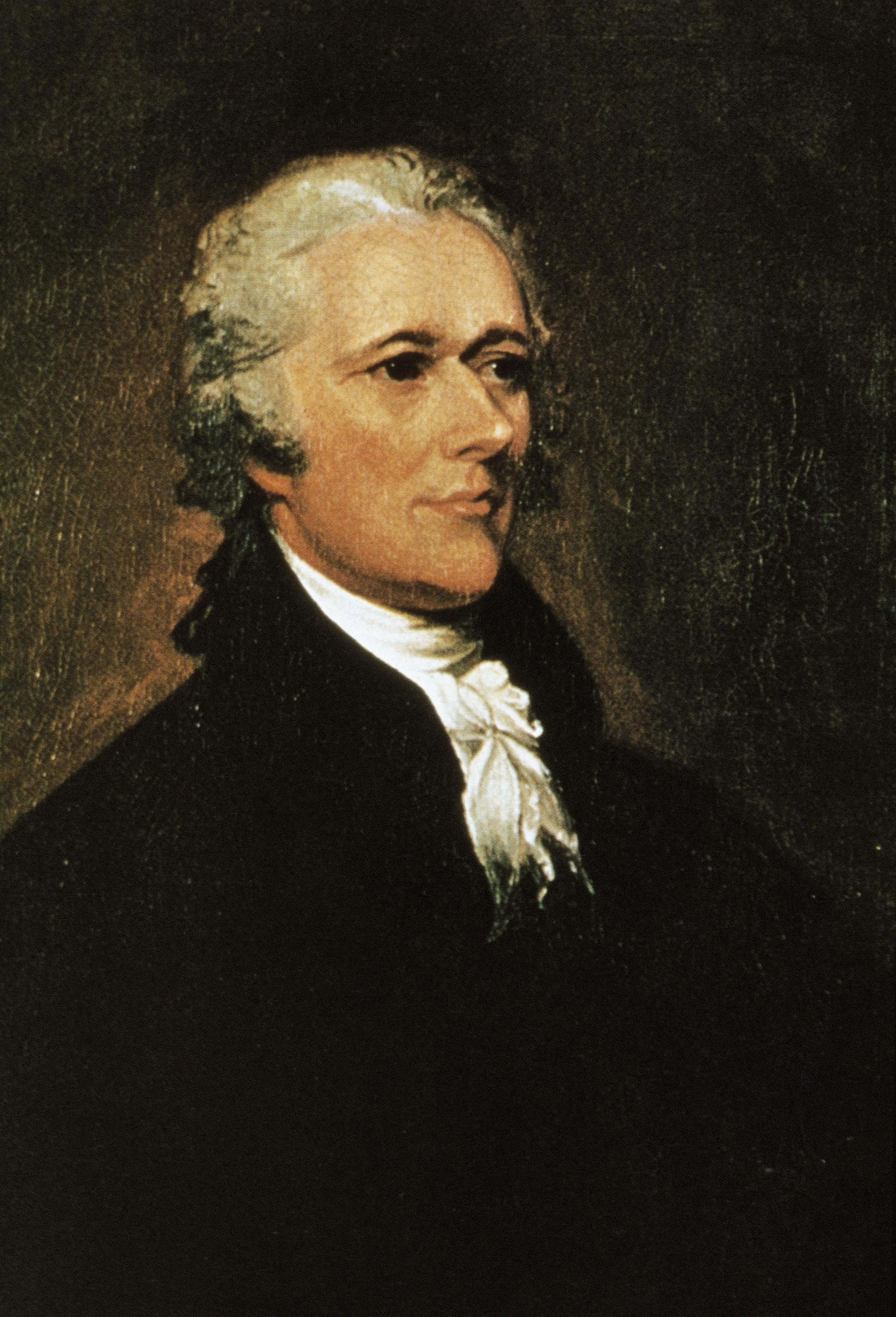 Portrait of Alexander Hamilton (1757-1804), American politician. Painting  by John