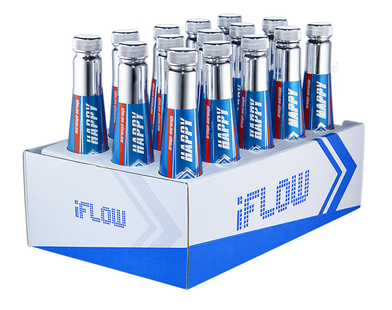 Some elements on the bottle glow if they are exposed to UV lights - this  feature makes Iflow more spectaular in clubs and bars. During the creation  of the