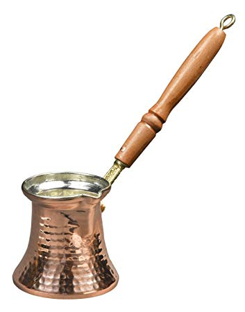 MisterCopper Hammered Copper Turkish Greek Coffee Pot Coffee Maker Cezve  Ibrik With Wooden Handle 1 mm