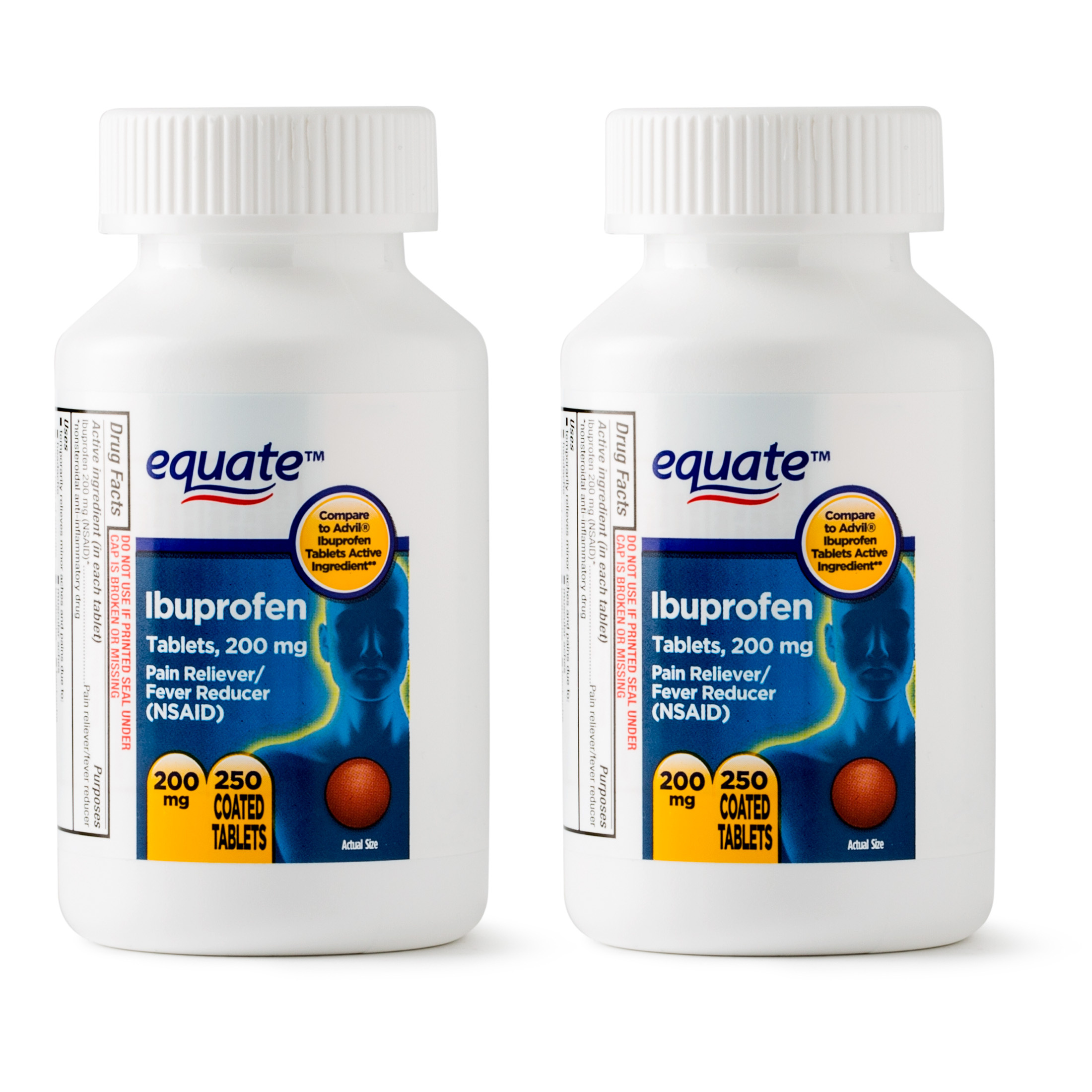 Equate Pain Relief Ibuprofen Coated Tablets, 200 mg, 250 Ct, 2 Pk -  Traveller Location
