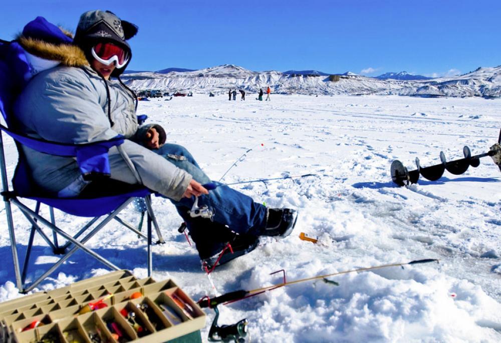 Ice fishing at Wolford Mountain Reservoir near Kremmling, CO