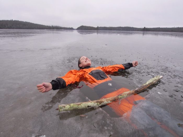 dry suit ice water test