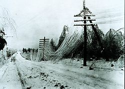 Power lines sagging after an ice storm. Besides disrupting transportation, ice  storms can disrupt utilities by snapping lines and poles.