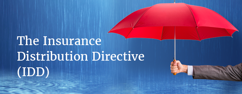 A blue tile showing an arm holding an umbrella, with the words insurance  distribution directive