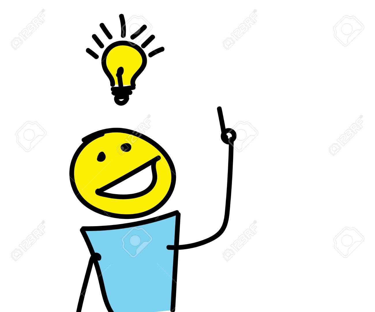 Foto de archivo - Stick figura tener una idea creativa con una bombilla  sobre su cabeza. Ilustración vectorial