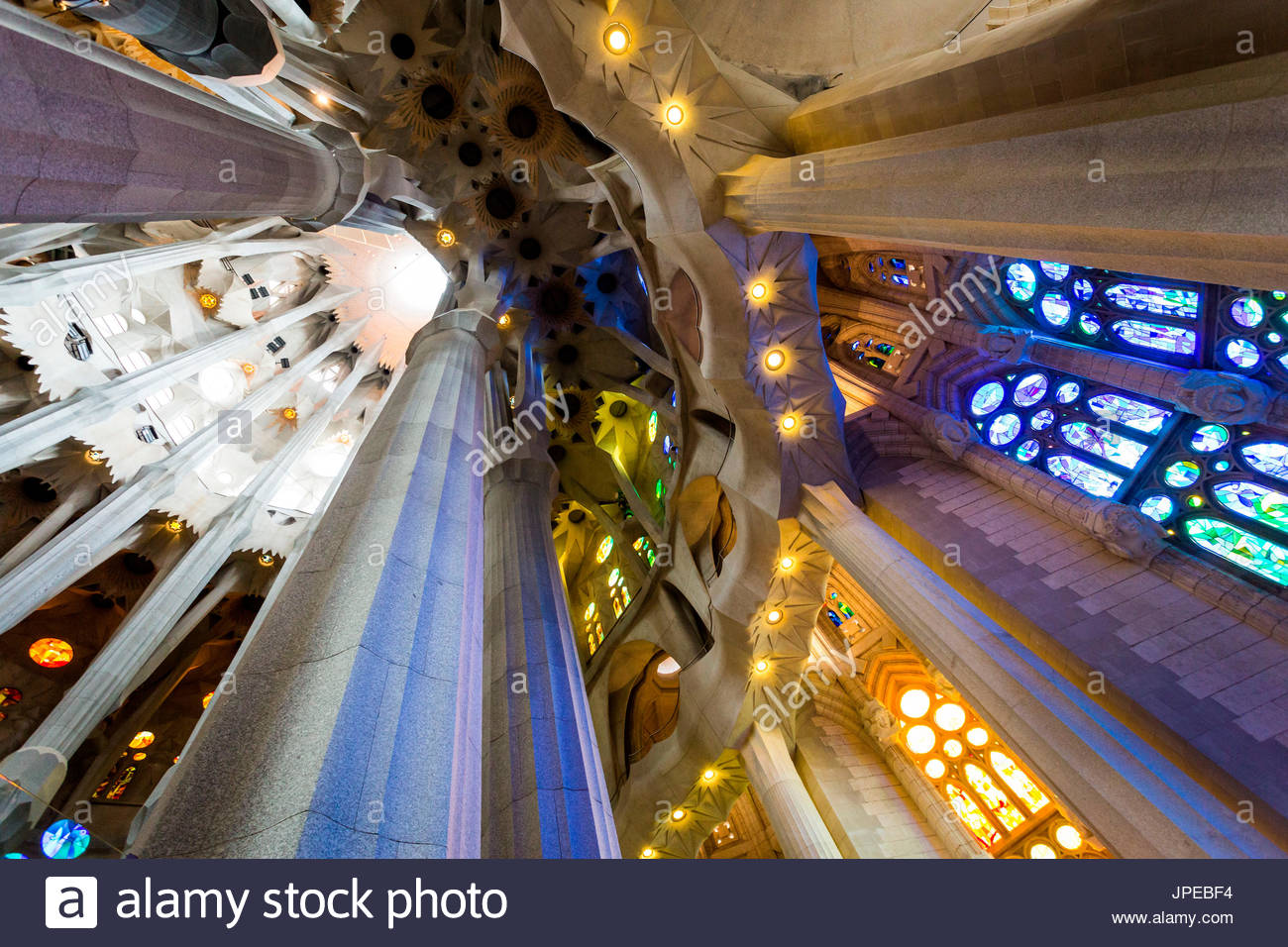 Sagrada Familia interior, building ideated by modernist architect Antonio  Gaudi