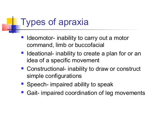 Image result for ideational vs ideomotor apraxia