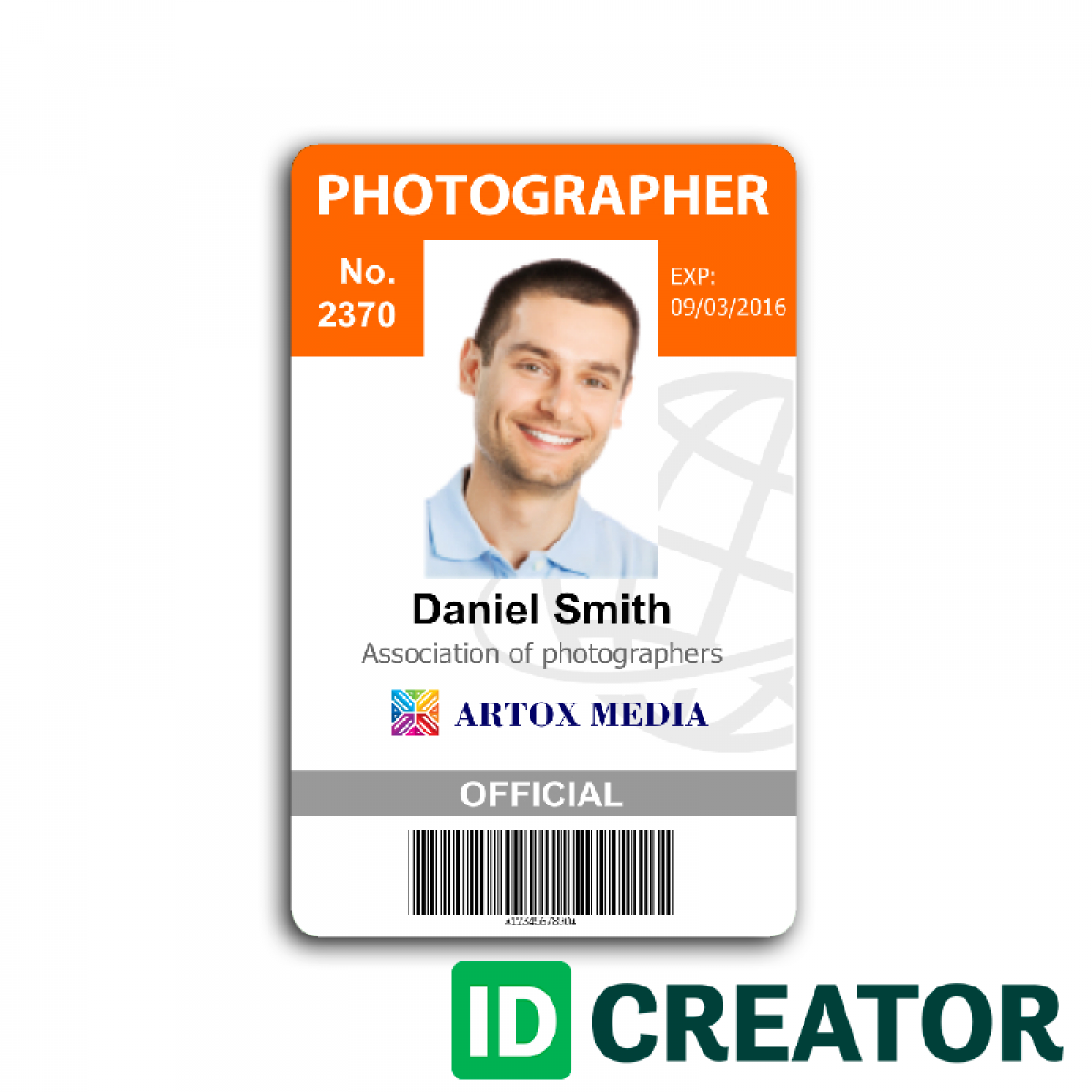 Front of ID Card - Photographer Identification Card 2